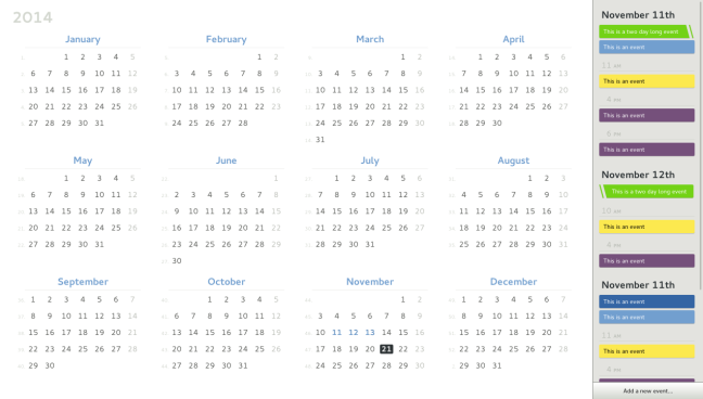 Year view mockup (multiday selection)